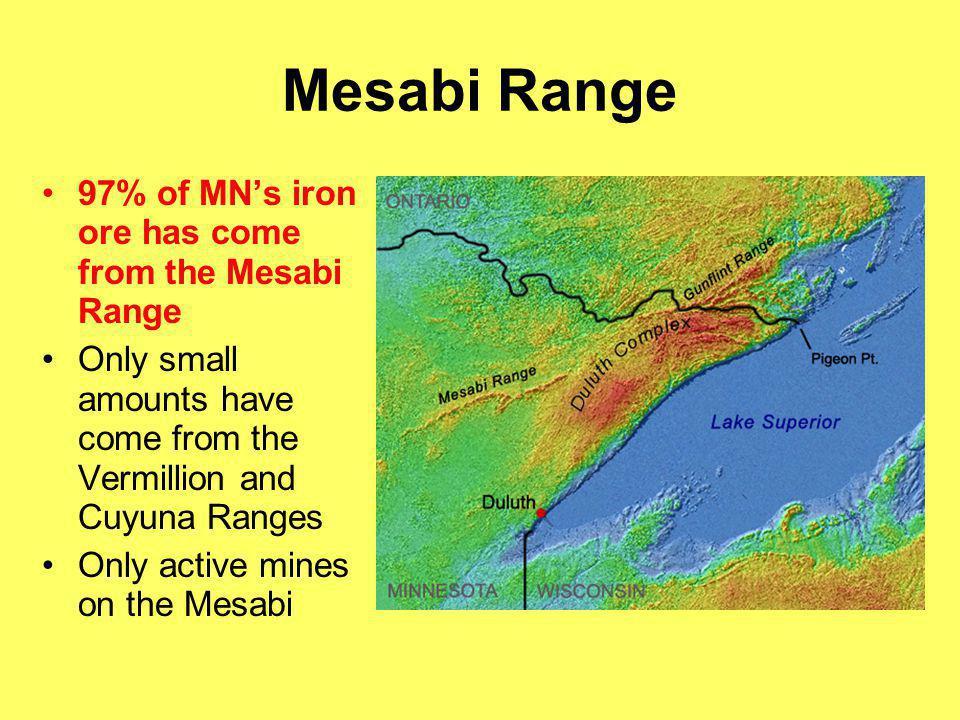 Mesabi Range 97% of MN's iron ore has come from the Mesabi Range