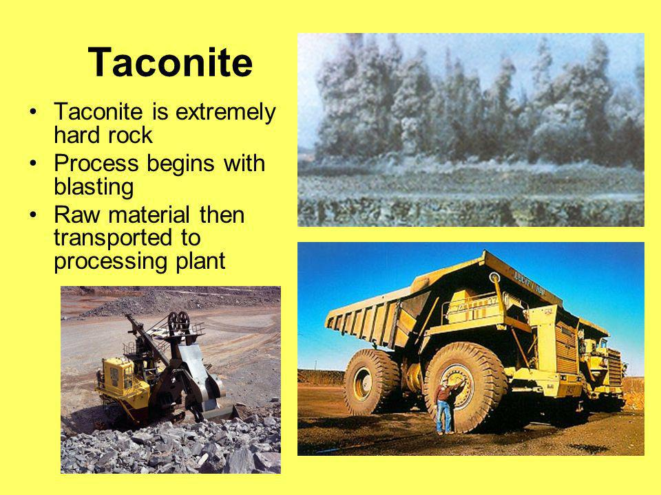 Taconite Taconite is extremely hard rock Process begins with blasting