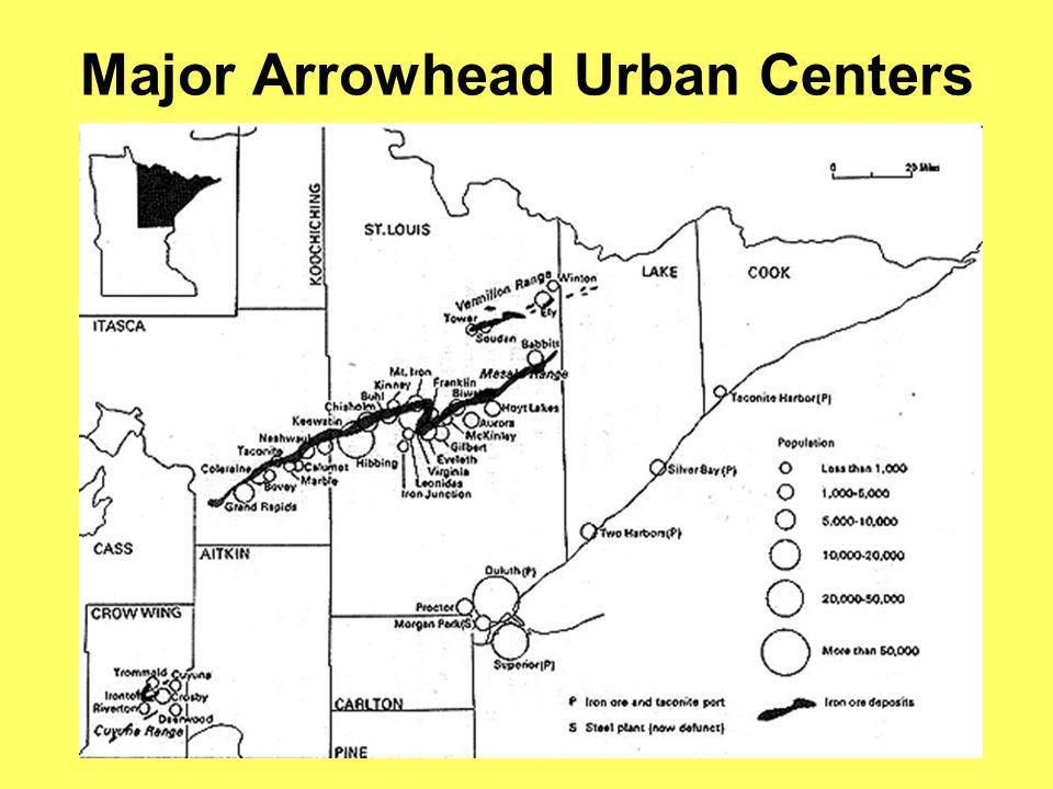 Major Arrowhead Urban Centers