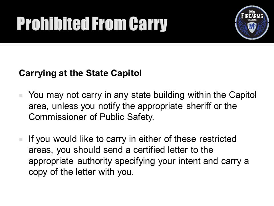Prohibited From Carry Carrying at the State Capitol