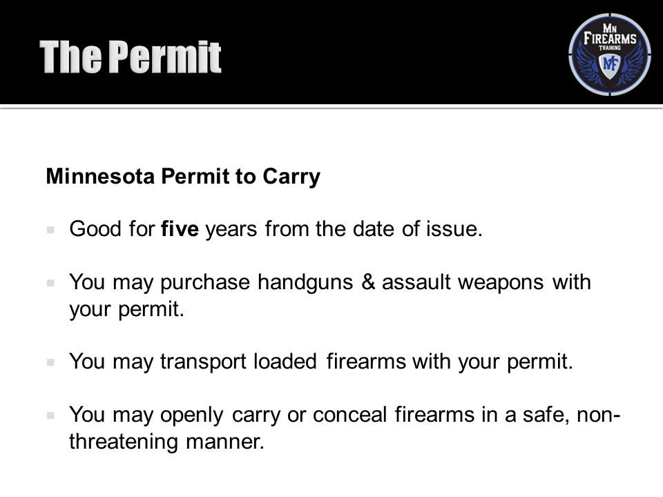 The Permit Minnesota Permit to Carry
