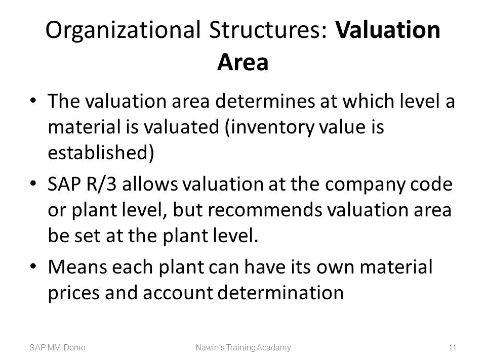Organizational Structures: Valuation Area