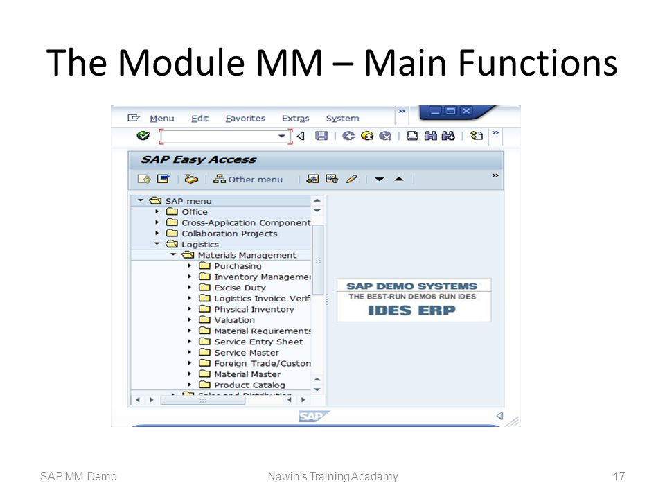 The Module MM – Main Functions
