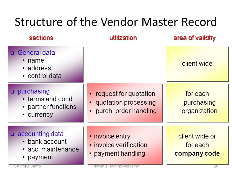 Structure of the Vendor Master Record