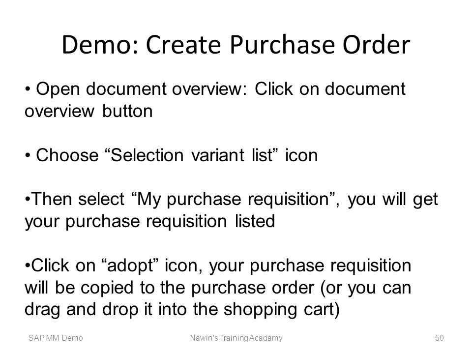 Demo: Create Purchase Order