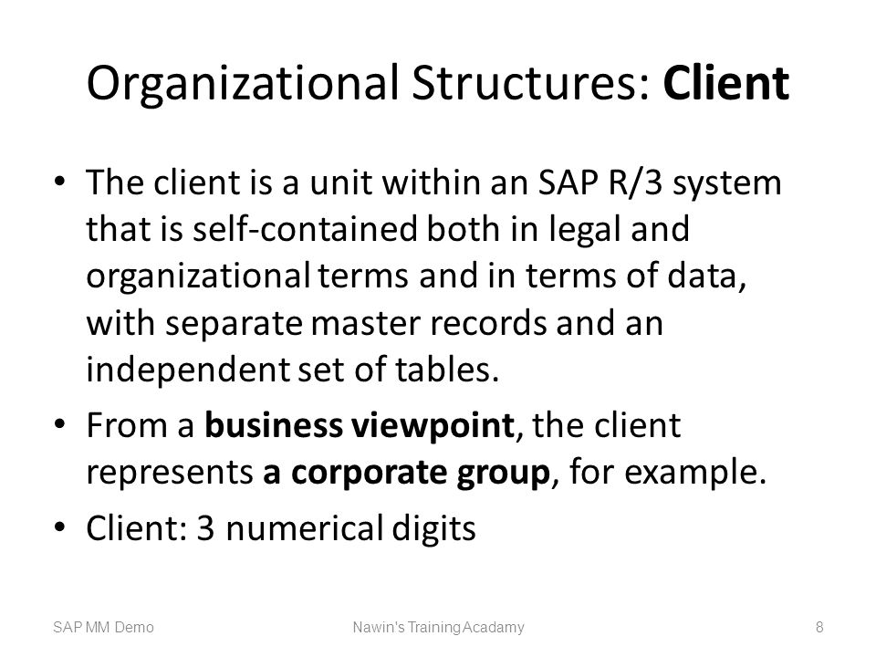Organizational Structures: Client