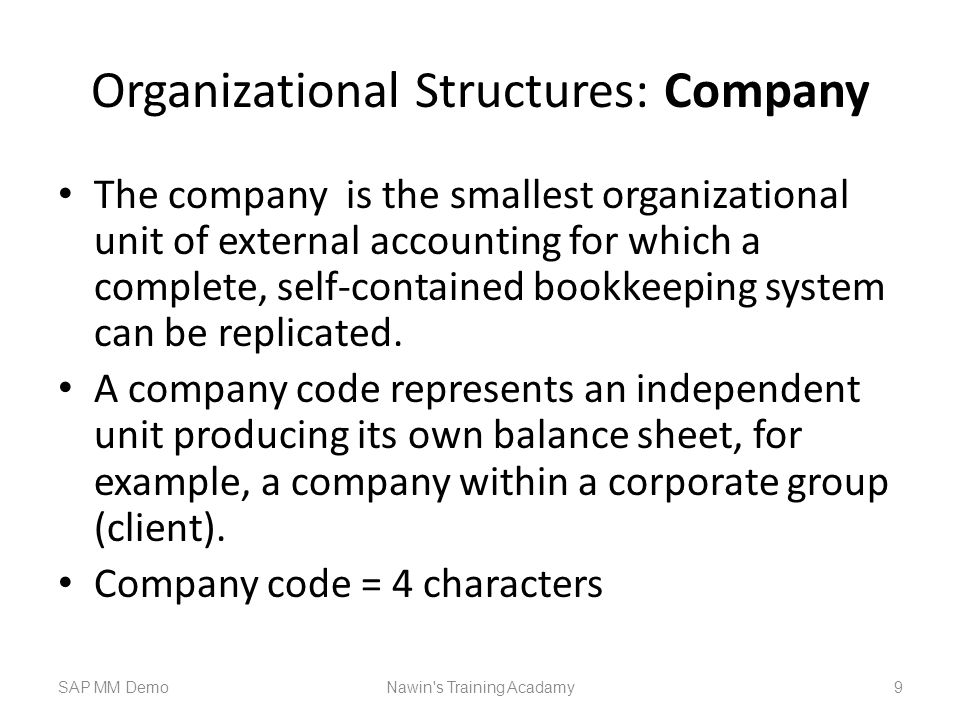 Organizational Structures: Company