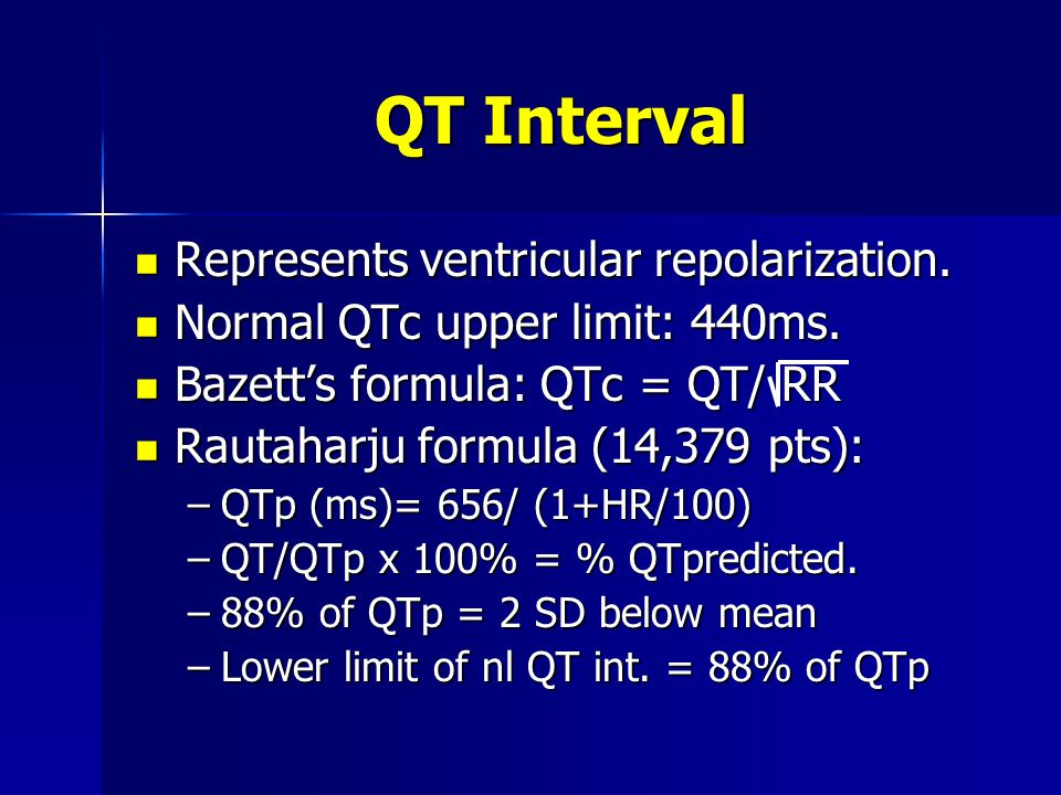 QT Interval Represents ventricular repolarization.