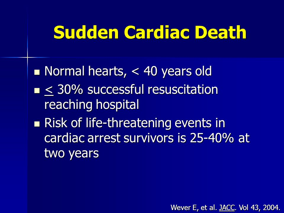 Sudden Cardiac Death Normal hearts, < 40 years old