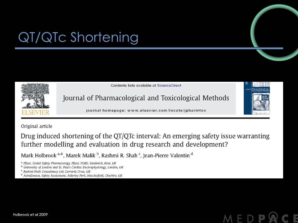 QT/QTc Shortening Holbrook et al 2009