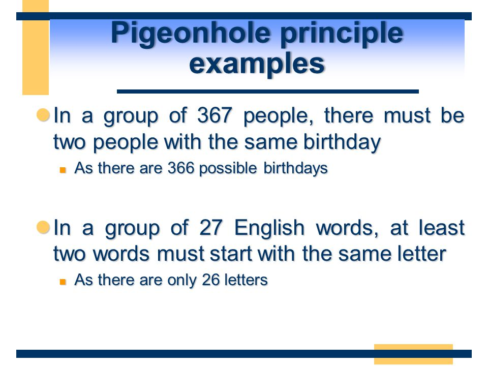 Pigeonhole principle examples