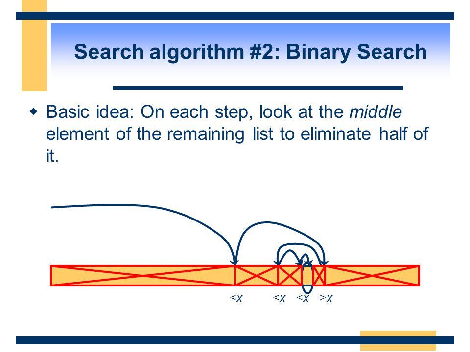Search algorithm #2: Binary Search
