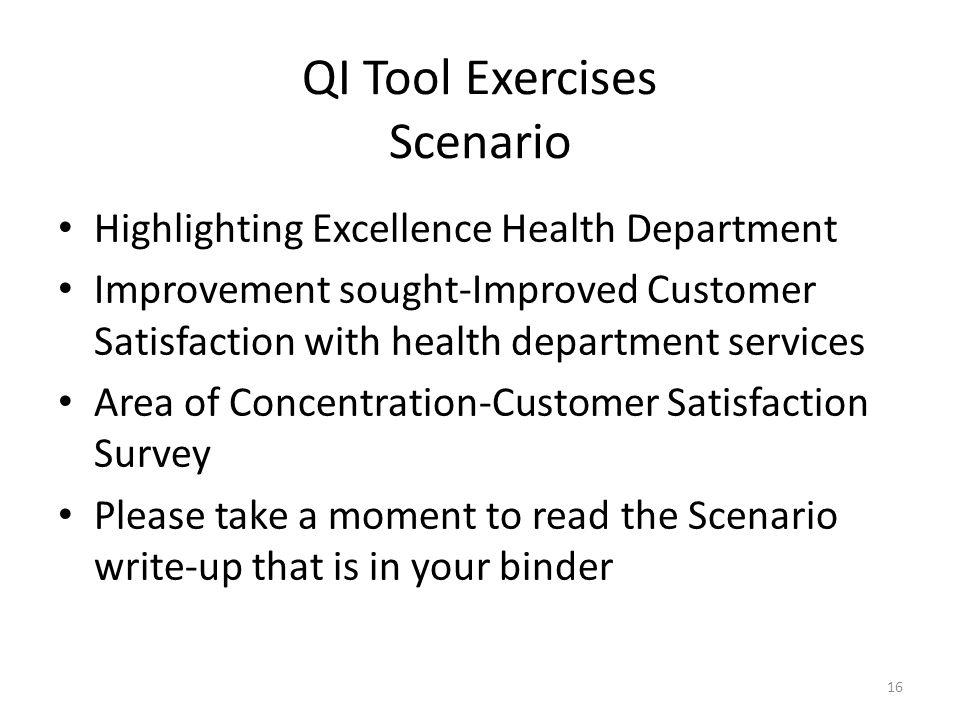 QI Tool Exercises Scenario