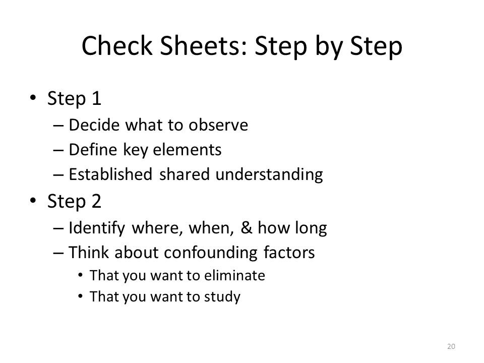 Check Sheets: Step by Step