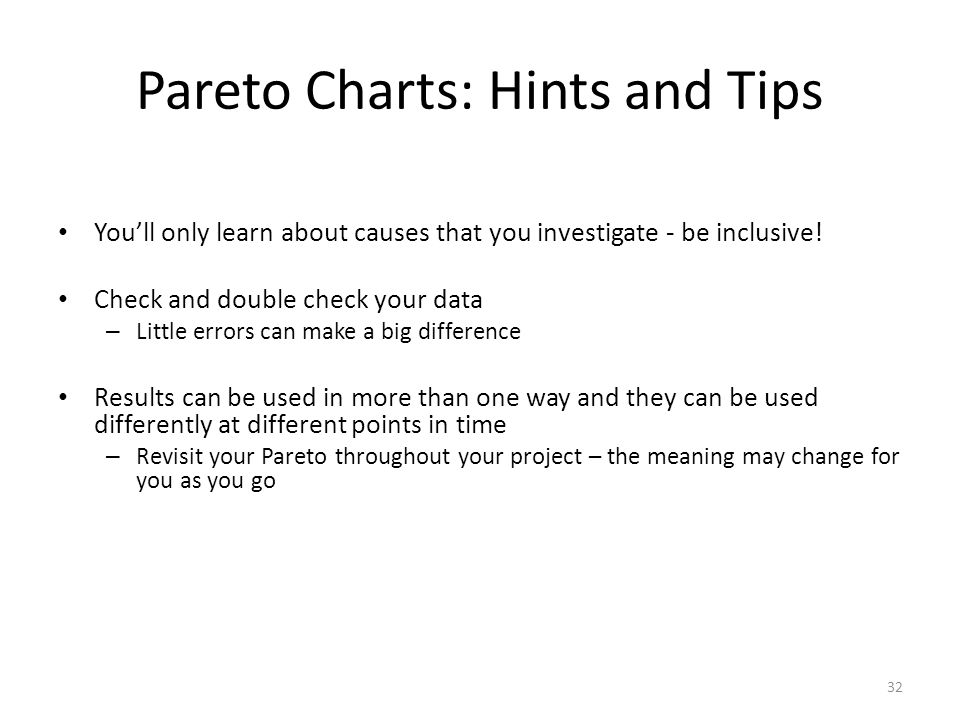 Pareto Charts: Hints and Tips
