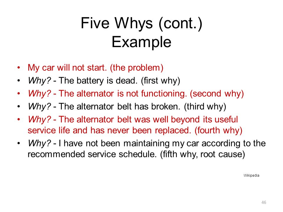 Five Whys (cont.) Example