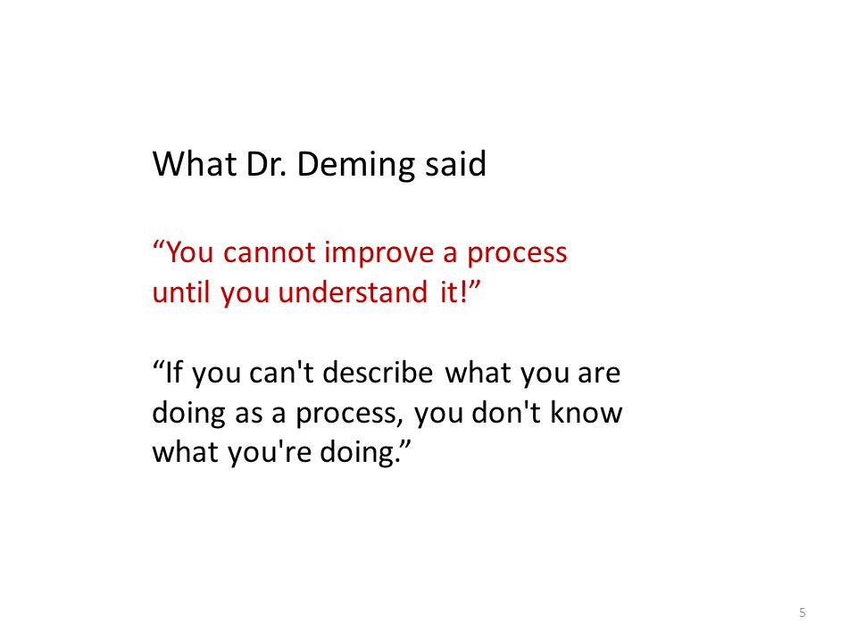 What Dr. Deming said You cannot improve a process until you understand it!