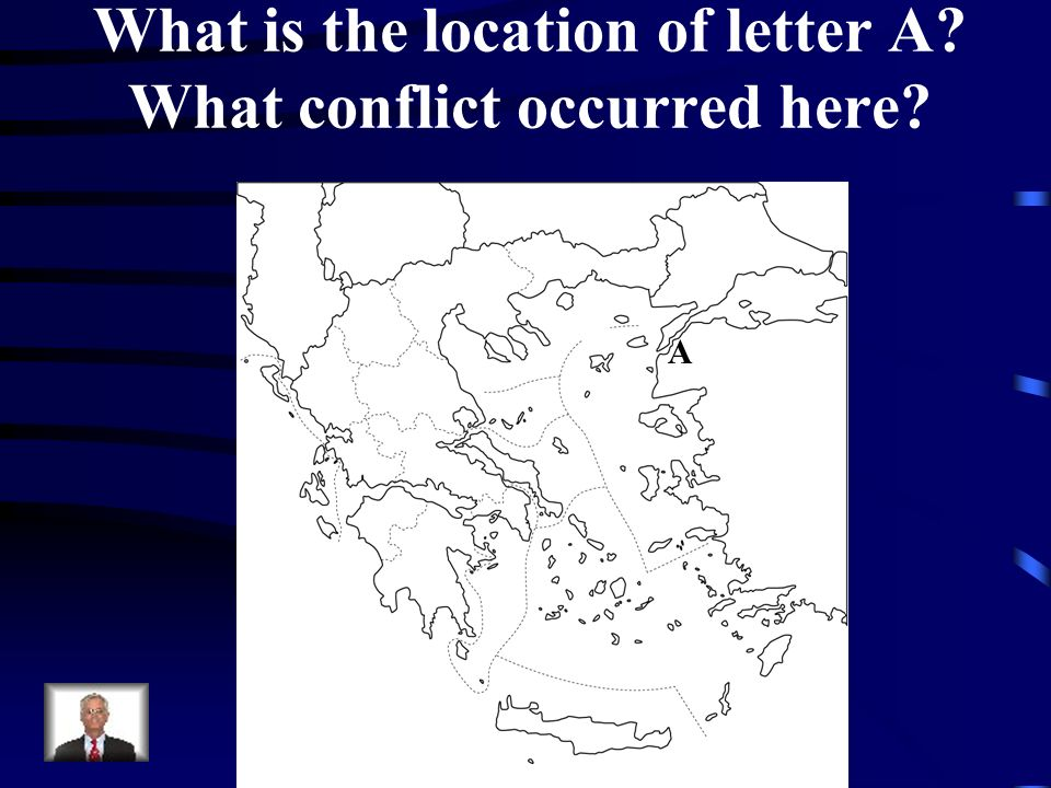 What is the location of letter A What conflict occurred here