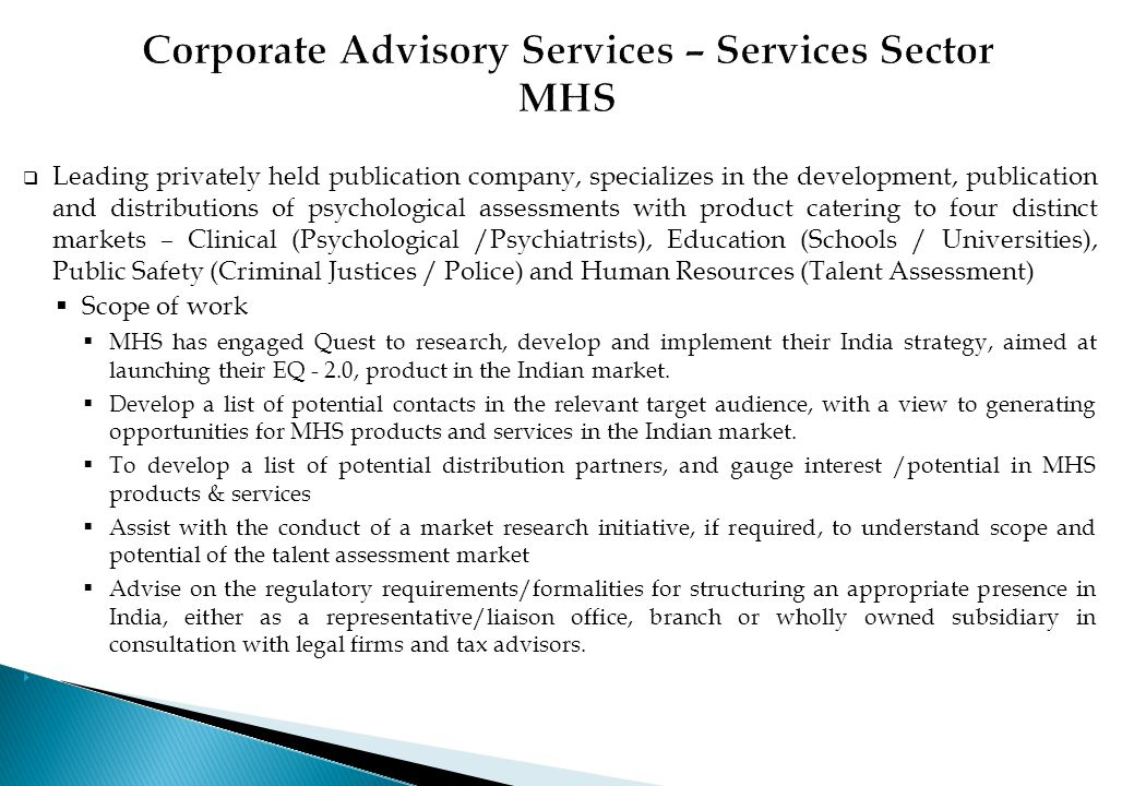 Corporate Advisory Services – Services Sector MHS