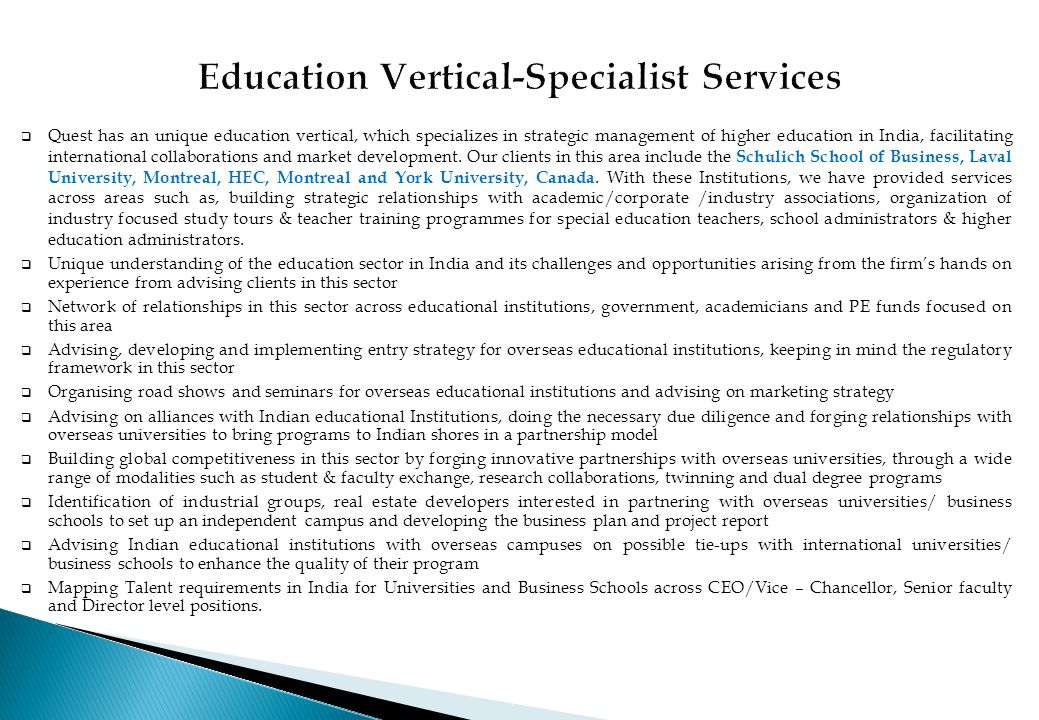 Education Vertical-Specialist Services