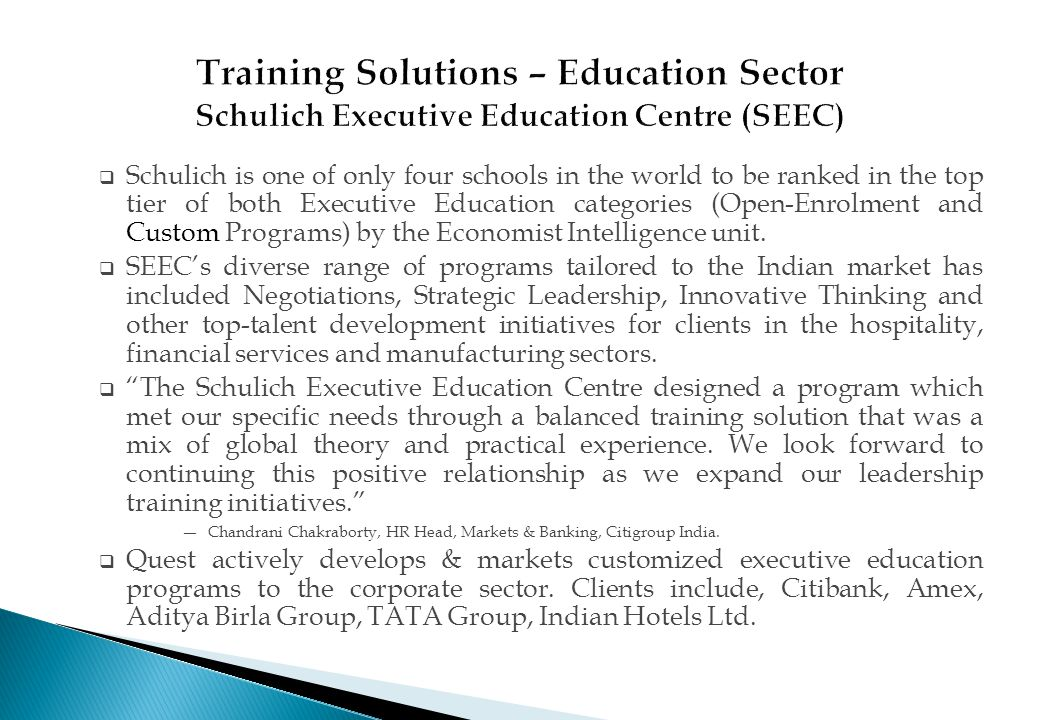Training Solutions – Education Sector Schulich Executive Education Centre (SEEC)