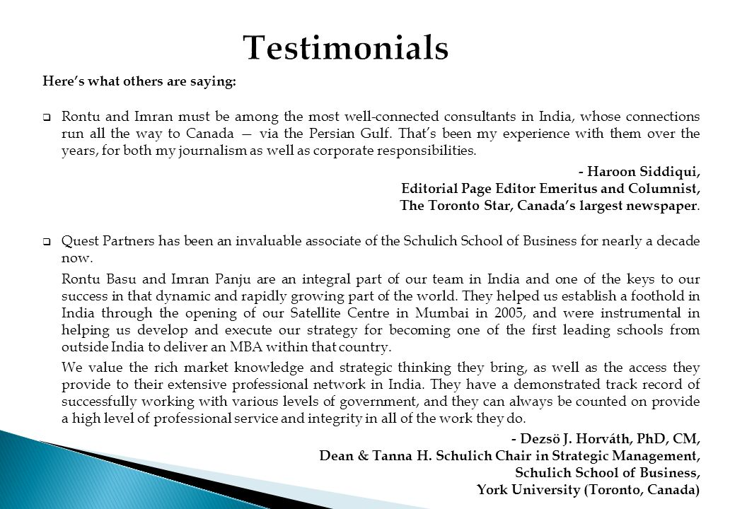 Testimonials Here's what others are saying: