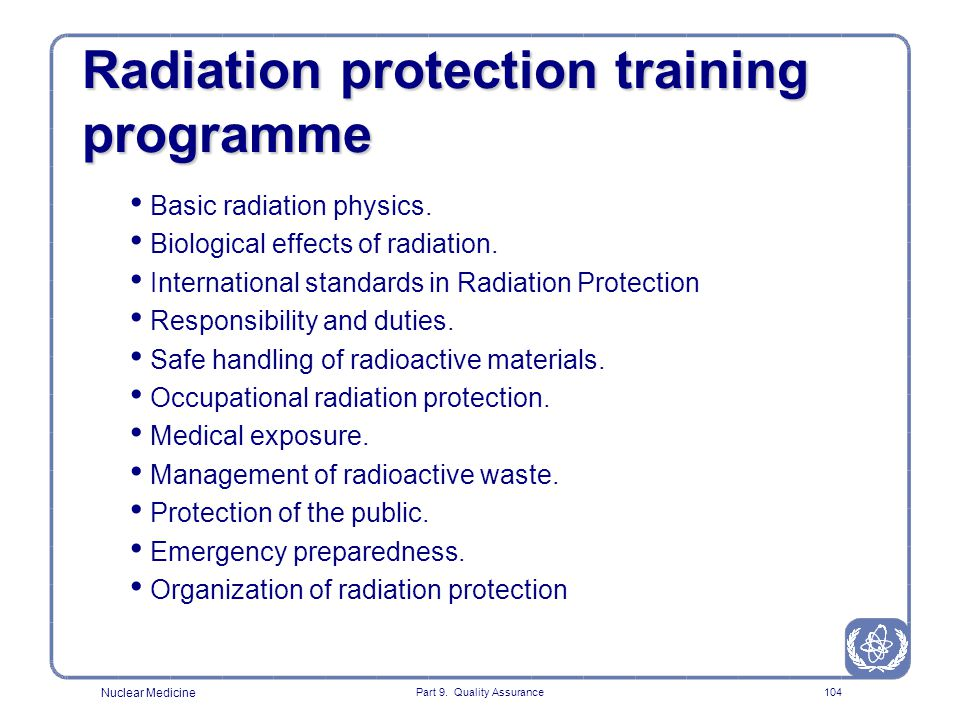 Radiation protection training programme