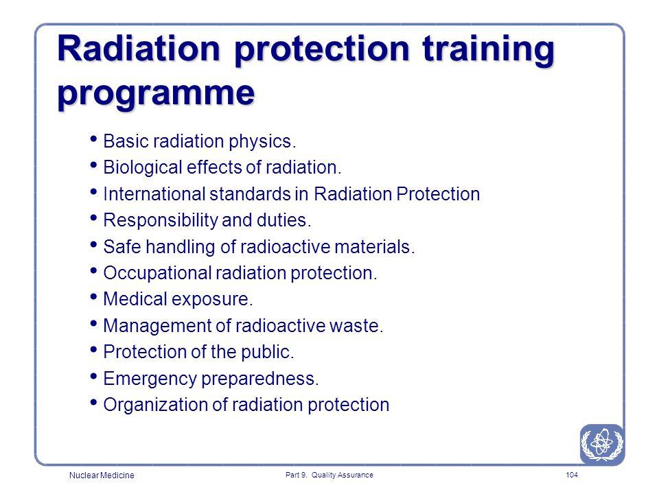 Radiation protection training programme