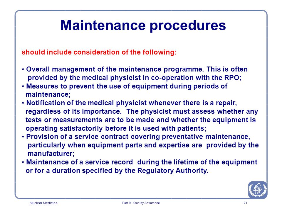 Maintenance procedures