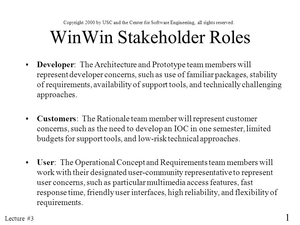 WinWin Stakeholder Roles