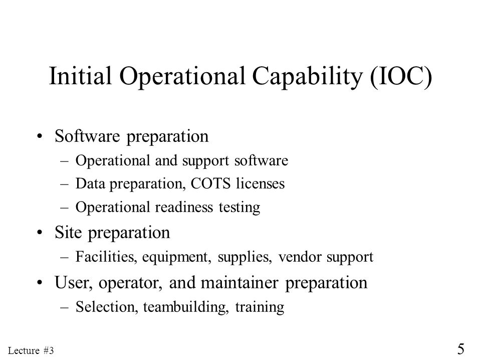 Initial Operational Capability (IOC)