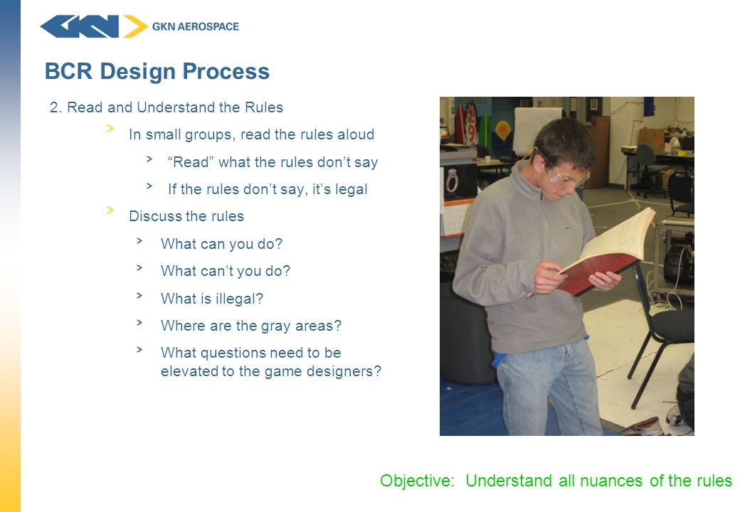 BCR Design Process Objective: Understand all nuances of the rules