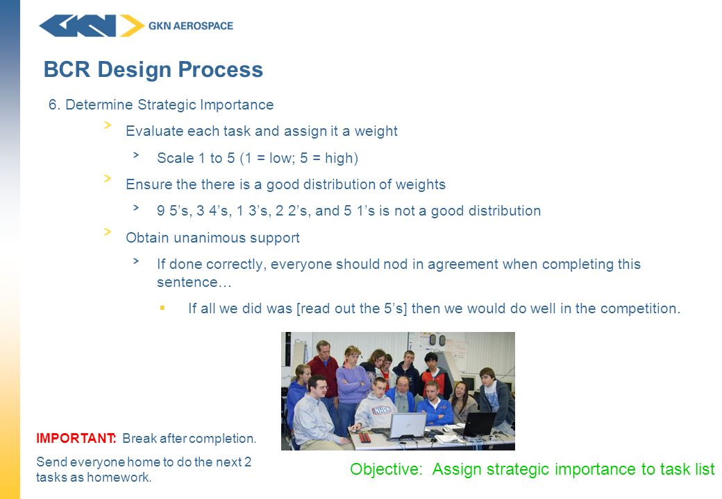 BCR Design Process Objective: Assign strategic importance to task list