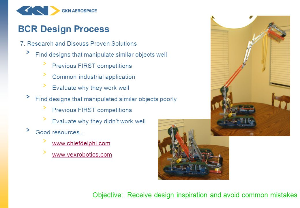 BCR Design Process 7. Research and Discuss Proven Solutions. Find designs that manipulate similar objects well.