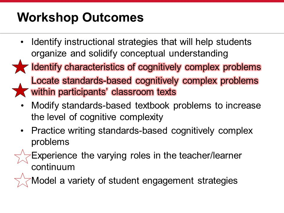 Workshop Outcomes Identify instructional strategies that will help students organize and solidify conceptual understanding.