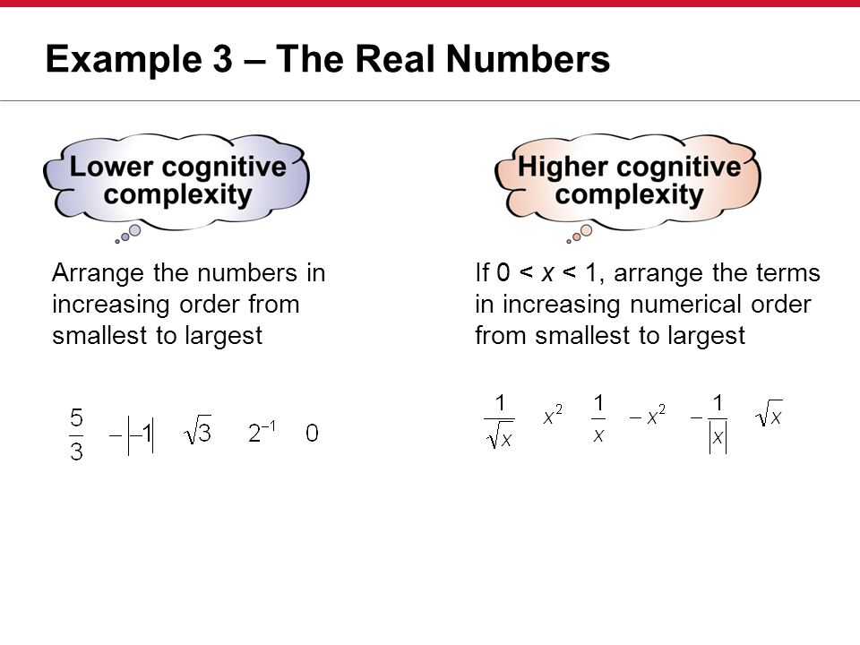 Example 3 – The Real Numbers