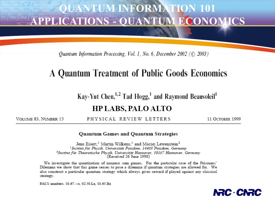 APPLICATIONS - QUANTUM ECONOMICS