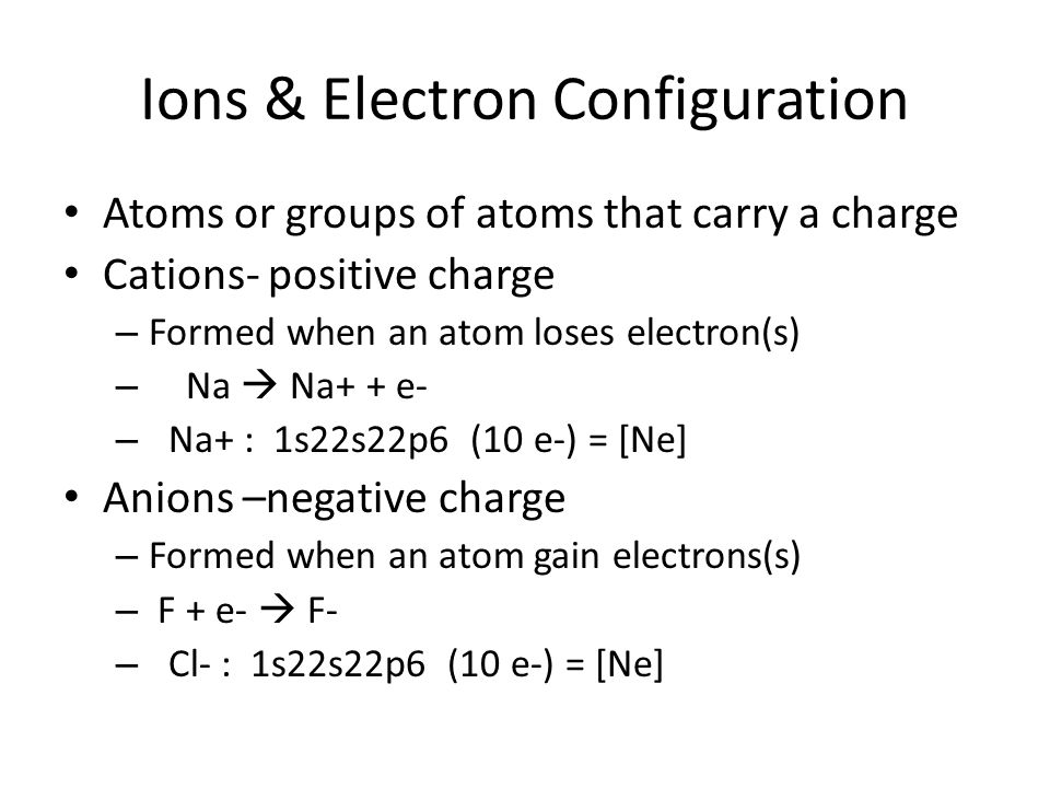 Ions & Electron Configuration