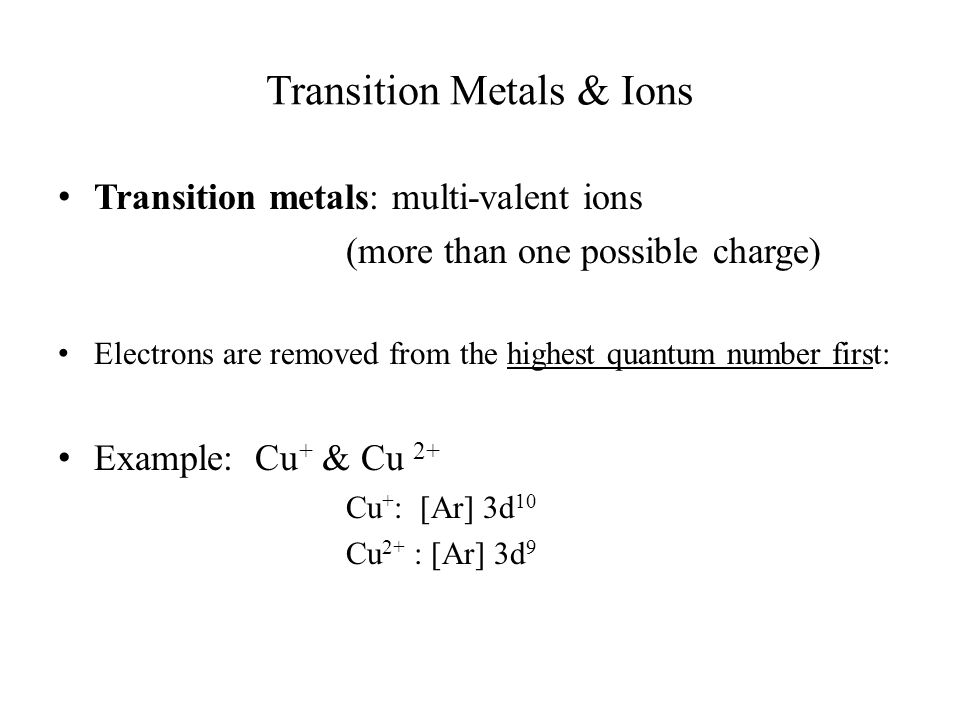 Transition Metals & Ions