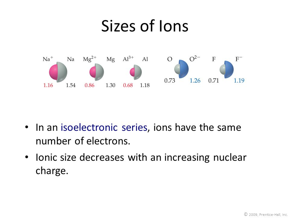 Sizes of Ions In an isoelectronic series, ions have the same number of electrons. Ionic size decreases with an increasing nuclear charge.