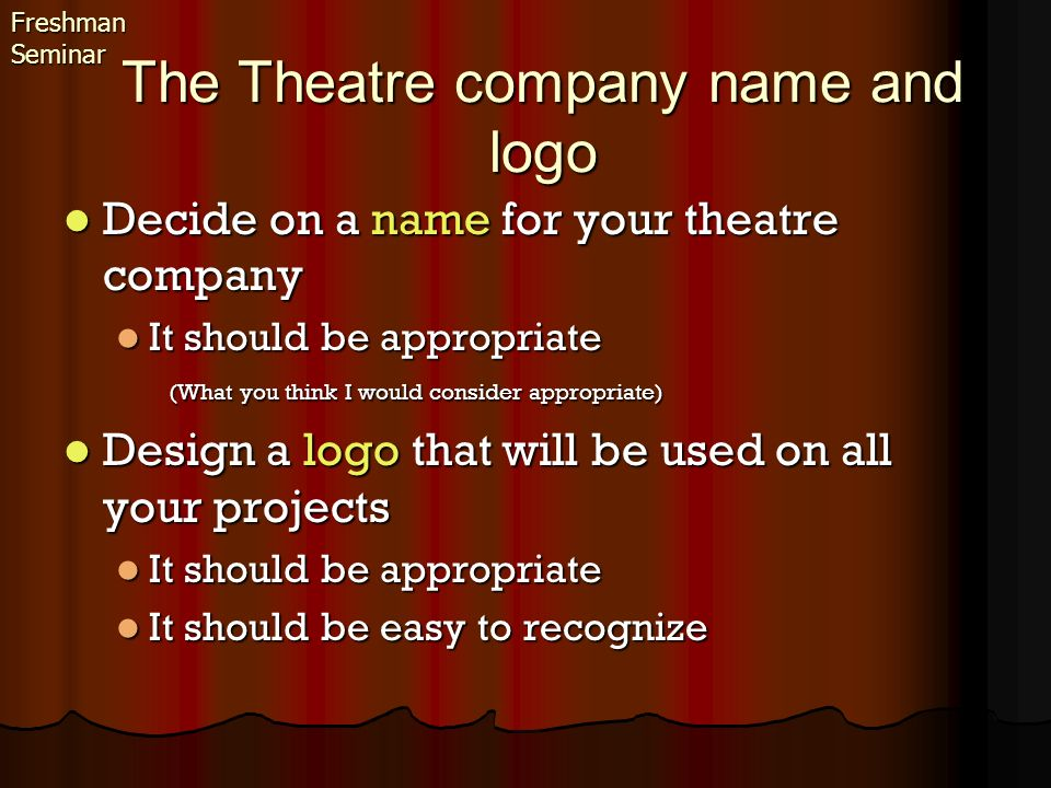 The Theatre company name and logo