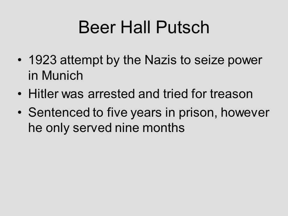 Beer Hall Putsch 1923 attempt by the Nazis to seize power in Munich