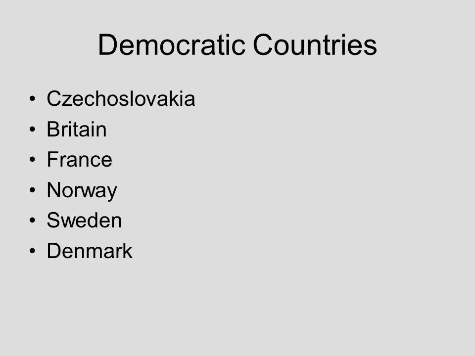 Democratic Countries Czechoslovakia Britain France Norway Sweden