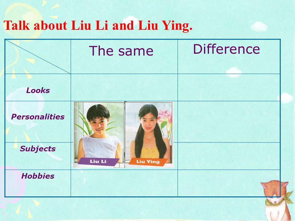 The same Talk about Liu Li and Liu Ying. Difference Looks