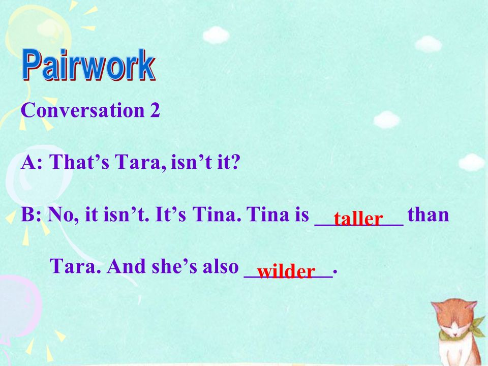 Pairwork Conversation 2 A: That's Tara, isn't it