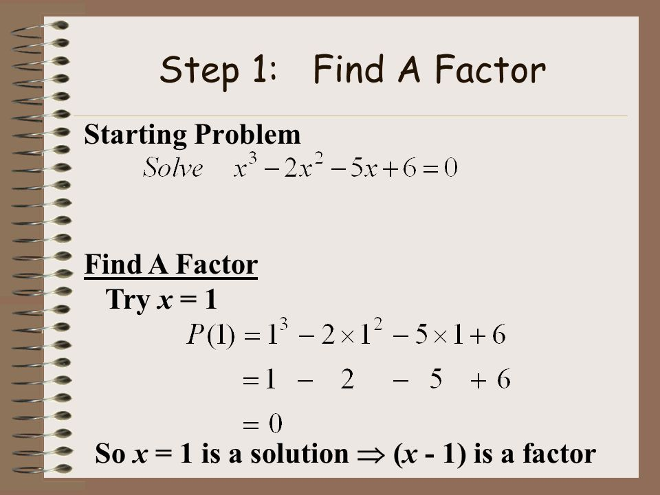 Step 1: Find A Factor Starting Problem Find A Factor Try x = 1