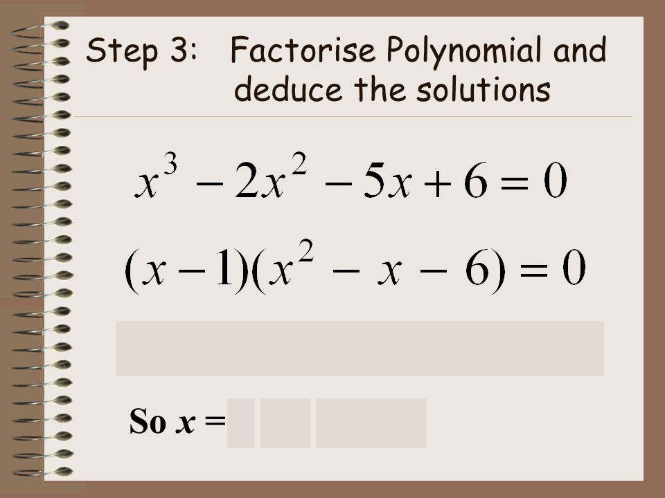 Step 3: Factorise Polynomial and deduce the solutions