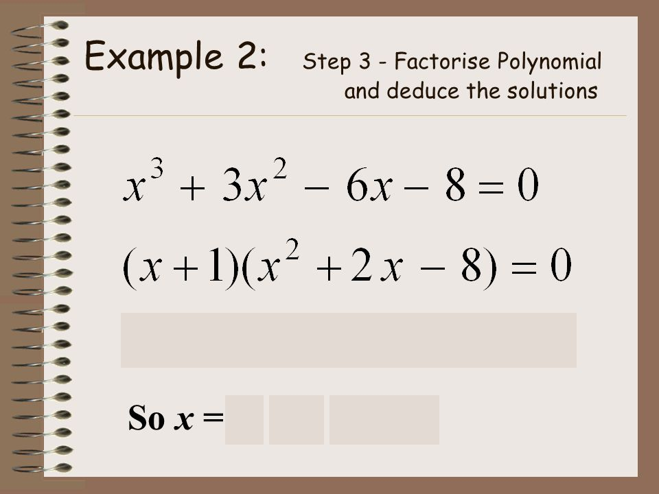 Example 2: Step 3 - Factorise Polynomial and deduce the solutions