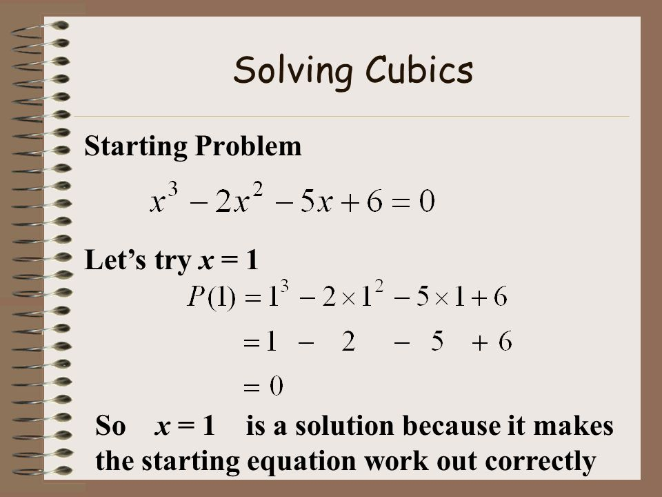Solving Cubics Starting Problem Let's try x = 1