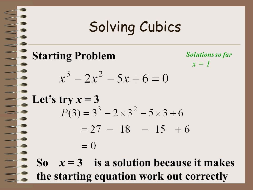 Solving Cubics Starting Problem Let's try x = 3
